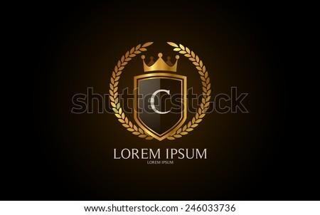 Letter C crest logo. Alphabet logotype vector design. - stock vector