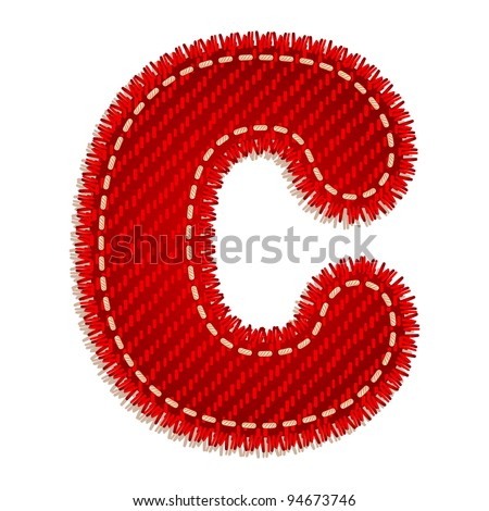 Letter C from red textile alphabet - stock vector