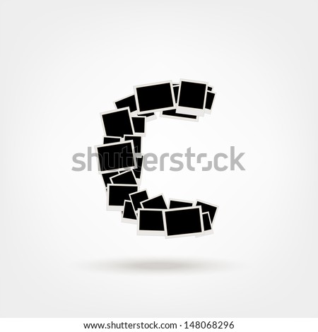 Letter C made from photo frames, insert your photos - stock vector