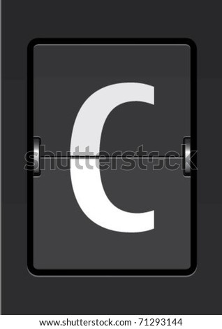 letter c  on a mechanical timetable - stock vector