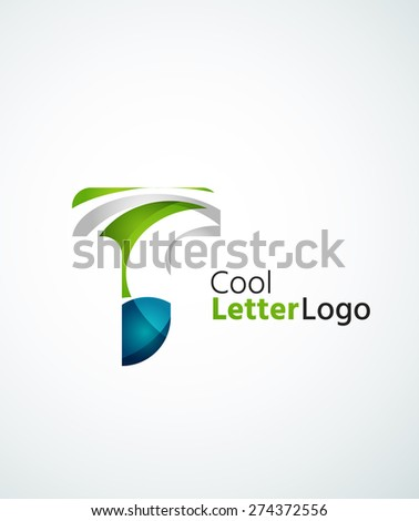 Letter company logo design. Clean modern abstract concept made of overlapping flowing wave shapes. Universal brand icon - stock vector