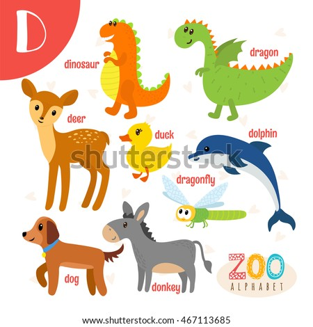 letter d cute animals funny cartoon stock vector 467113685