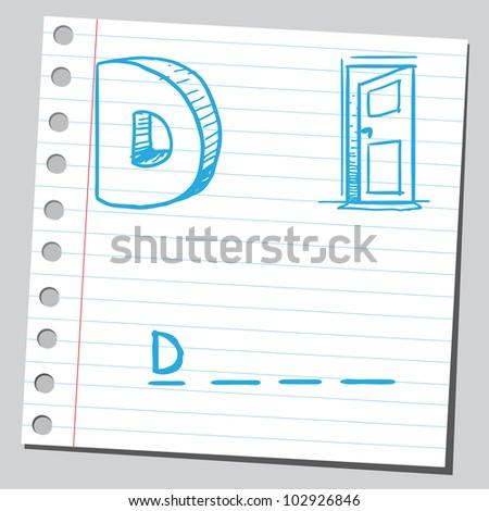 Letter D for door - stock vector