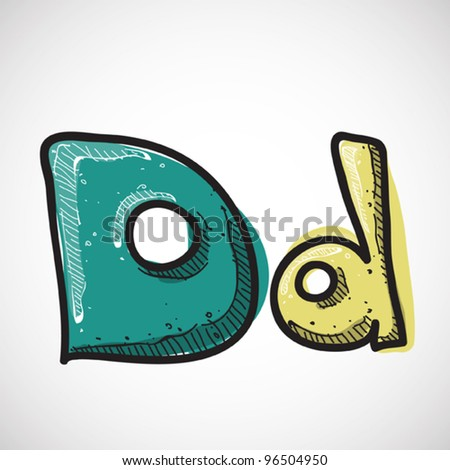 Letter D from candy alphabet. Vector illustration - stock vector