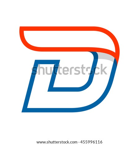 Letter D logo with red wing. Sport elements for sportswear, t-shirt, banner, card, labels or posters. - stock vector