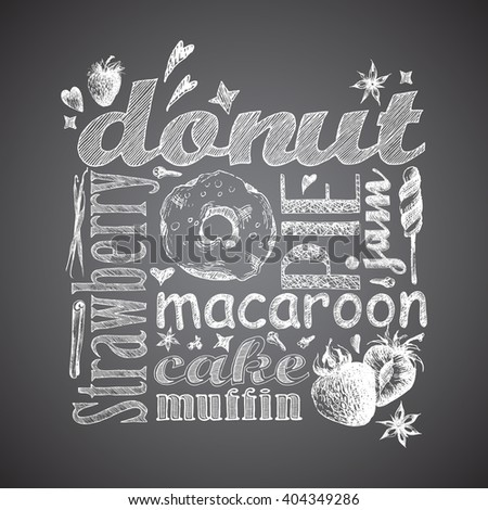 Letter design hand drawn vector isolated for bakery shop, confectionery. Vector sketch different words and elements for baking and sweet themes.