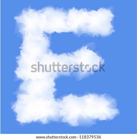 Letter E cloud shape - stock vector