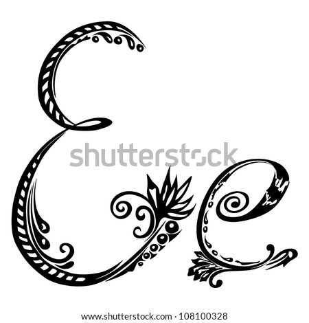 Letter E e in the style of abstract floral pattern on a white background