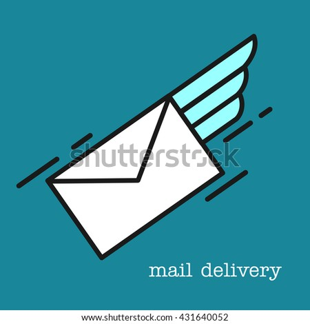 Letter. E-mail. Mail. Airmail. Vector icon. - stock vector