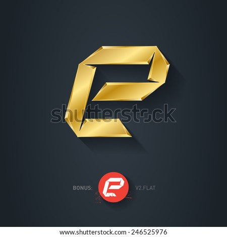 Letter E, Vector gold font. Elegant Template for company logo. Metallic Design element or icon. Pseudo origami style, including flat version. - stock vector