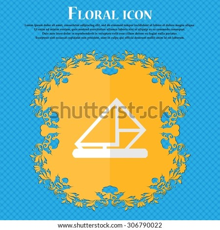 letter, envelope, mail. Floral flat design on a blue abstract background with place for your text. Vector illustration - stock vector