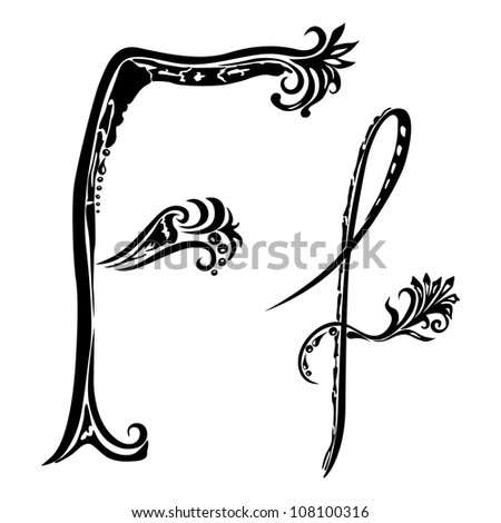 Letter F f  in the style of abstract floral pattern on a white background - stock vector