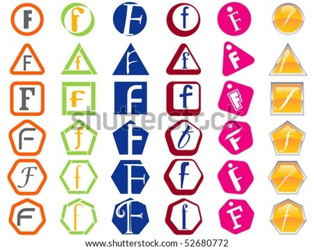 Letter F Icon Design Badges and Tags Set - stock vector