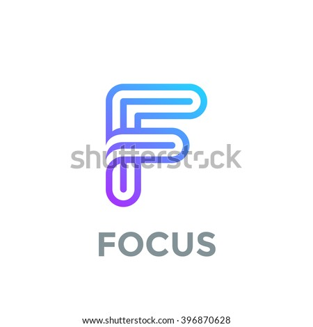 Letter F Logo Design Vector Template Font Lines Logotype