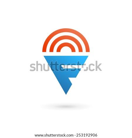 Letter F wireless logo icon design template elements  - stock vector