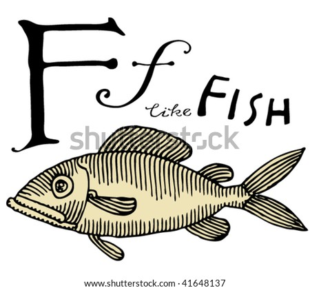 letter for fish with typography