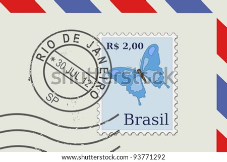 Letter from Brazil - postage stamp and post mark from Rio De Janeiro. Brazilian mail. - stock vector