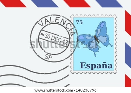 Letter from Spain - postage stamp and post mark from Valencia. Spanish mail. - stock vector