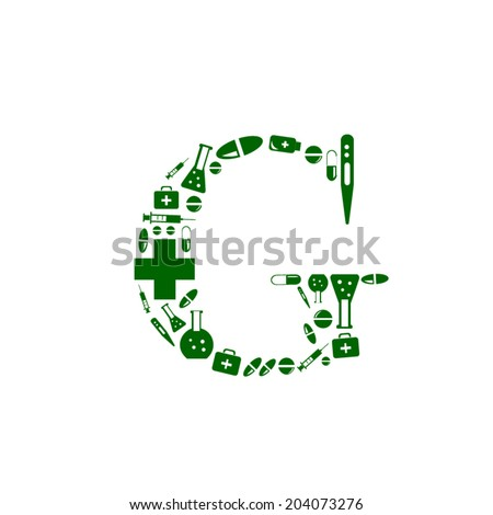 Letter G, alphabet of medicine pills - stock vector