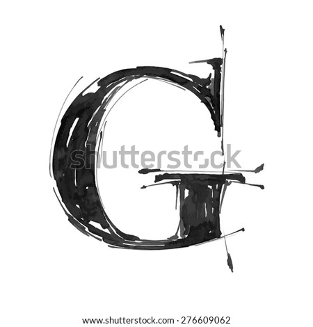letter G. Alphabet symbol - grunge hand draw paint / vector illustration - stock vector