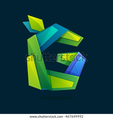 Letter G logo in low poly style with green leaves. Ecology vector design for presentation, web page, app icon, card, labels or posters.