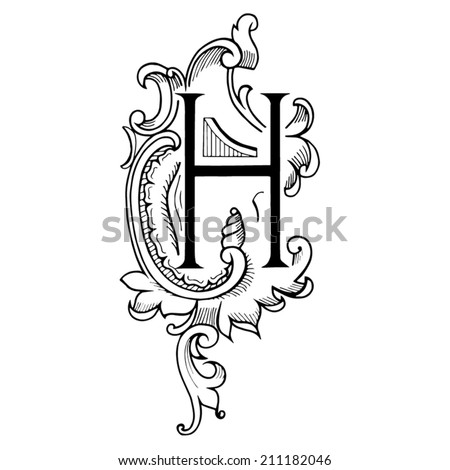 Letter H c in the style of abstract floral pattern on a white background - stock vector