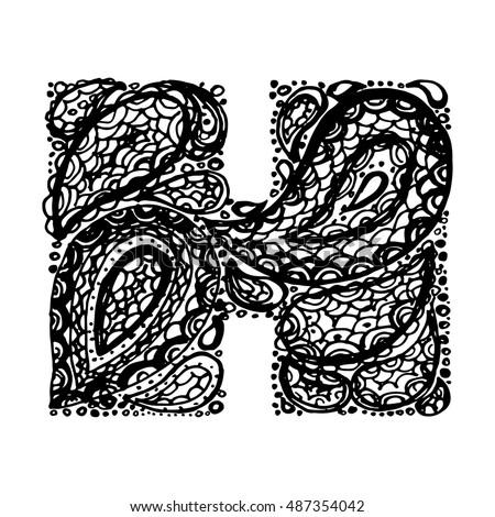 Letter h decorative alphabet paisley zen stock vector 487354042 letter h decorative alphabet with a paisley zen doodle tattoo ornaments filling display font altavistaventures Choice Image