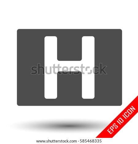 Letter H Icon Sign For Hotels Simple Flat Logo Of Hotel Isolated On