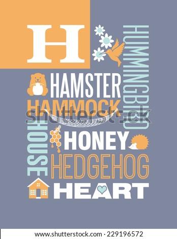 Letter H words typography illustration alphabet poster design - stock vector