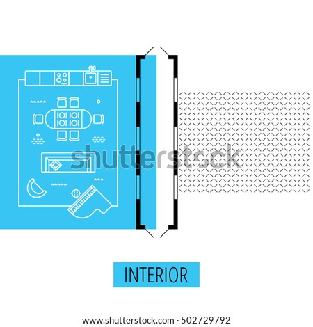 letter I, architectural plan, vector conceptual type. Thin line interior icons, top view