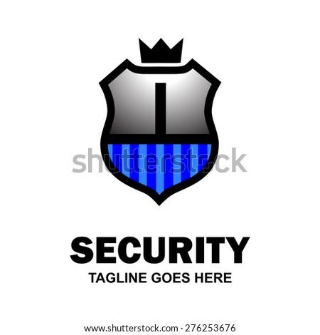 Letter i crest logo. Alphabet logotype vector design . heraldic shape shield . abstract symbol of security . Gray Blue Security Shield . vector illustration - stock vector