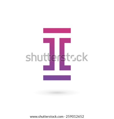 Letter I number 1 logo icon design template elements  - stock vector