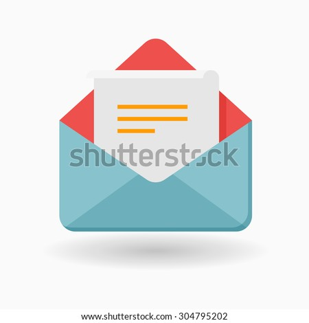 Letter icon - vector , eps10(flat icon , long shadow) - stock vector