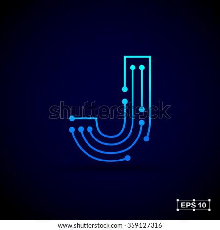 Letter J Logo Design Template,Technology Abstract Dot Connection Cross  Vector Logo Icon Circle Logotype