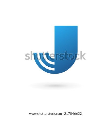 Letter J wireless logo icon design template elements. Vector color sign. - stock vector