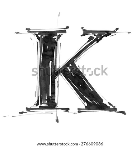 letter K. Alphabet symbol - grunge hand draw paint / vector illustration - stock vector