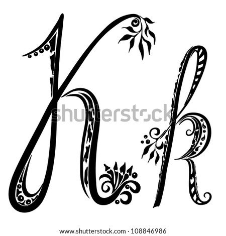 Letter K k  in the style of abstract floral pattern on a white background - stock vector