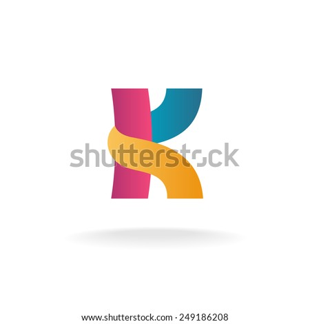 Letter K Logo Template Colorful Ribbons Vector De Stock Libre De