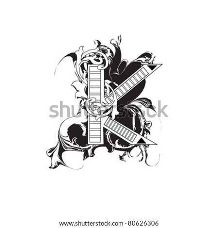 Letter K Ornate Black and White - stock vector