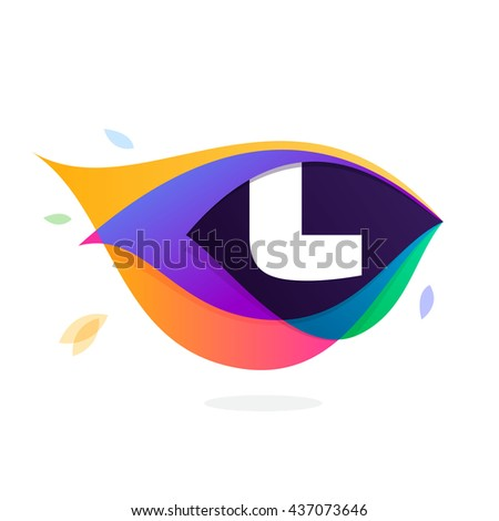 Letter L logo in peacock feather icon. Multicolor vector alphabet letters for app icon, corporate identity, card, labels or posters. - stock vector