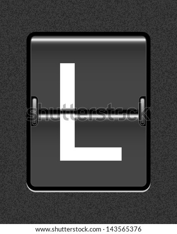 Letter L on a mechanical timetable - stock vector