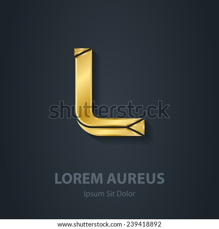 Letter L. Vector elegant gold font. Template for company logo. Design element or icon. - stock vector