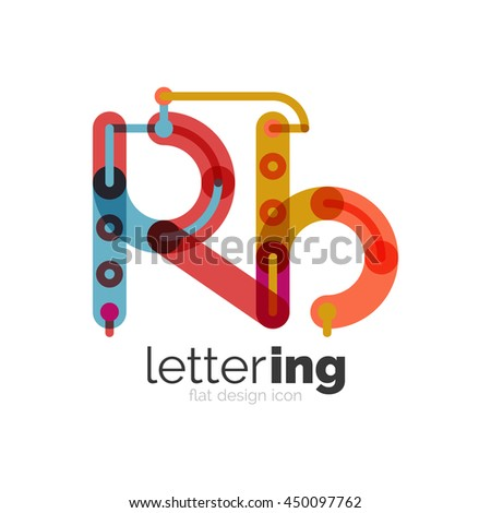Letter logo business linear icon on white background. Alphabet initial letters company name concept. Flat thin line segments connected to each other. Flat cartoon industrial wire or tube design of ABC - stock vector
