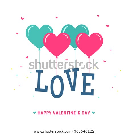 Letter Love with heart balloons. Valentines day postcard. - stock vector