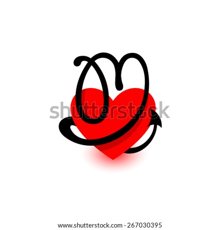 Letter M Beautiful Vector Love Logo The Symbol Of Union Passion And