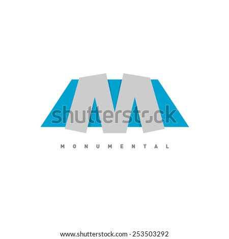 Letter M logo. Abstract shapes, blue and gray colors, solid stable composition sign. - stock vector
