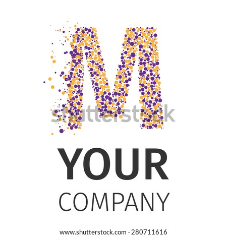 Letter M logo. Alphabet particles logotype vector design. Excellent vector illustration, EPS 10 - stock vector