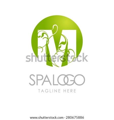 Green Letter m Logo Letter m Logo Health Spa