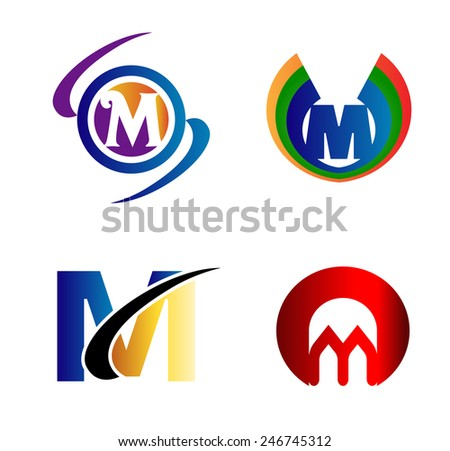 Letter M logo Icons Set Vector Graphic Design