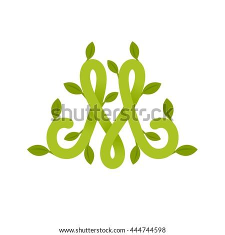 letter m logo green leaves green stock vector 444744598